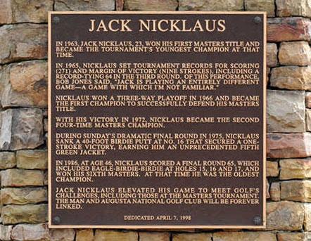 Jack Nicklaus landmark at Agusta National