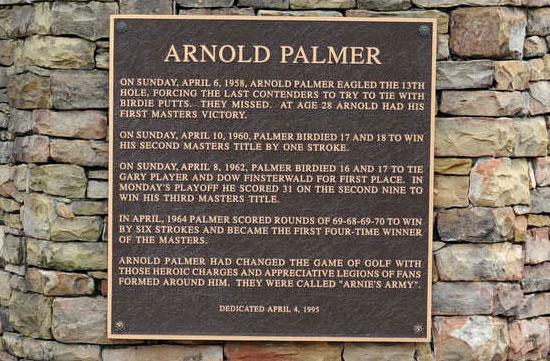 Arnold Palmer landmark at Augusta National