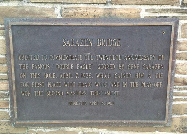 Sarazen Bridge landmark at Augusta National