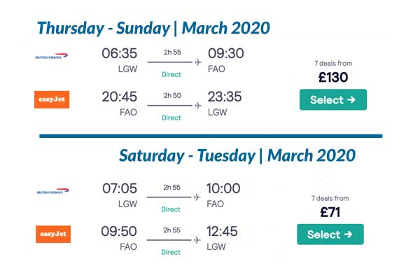 March 2020 flight prices